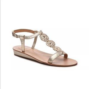 Jack Rogers gold eve t strap size 9